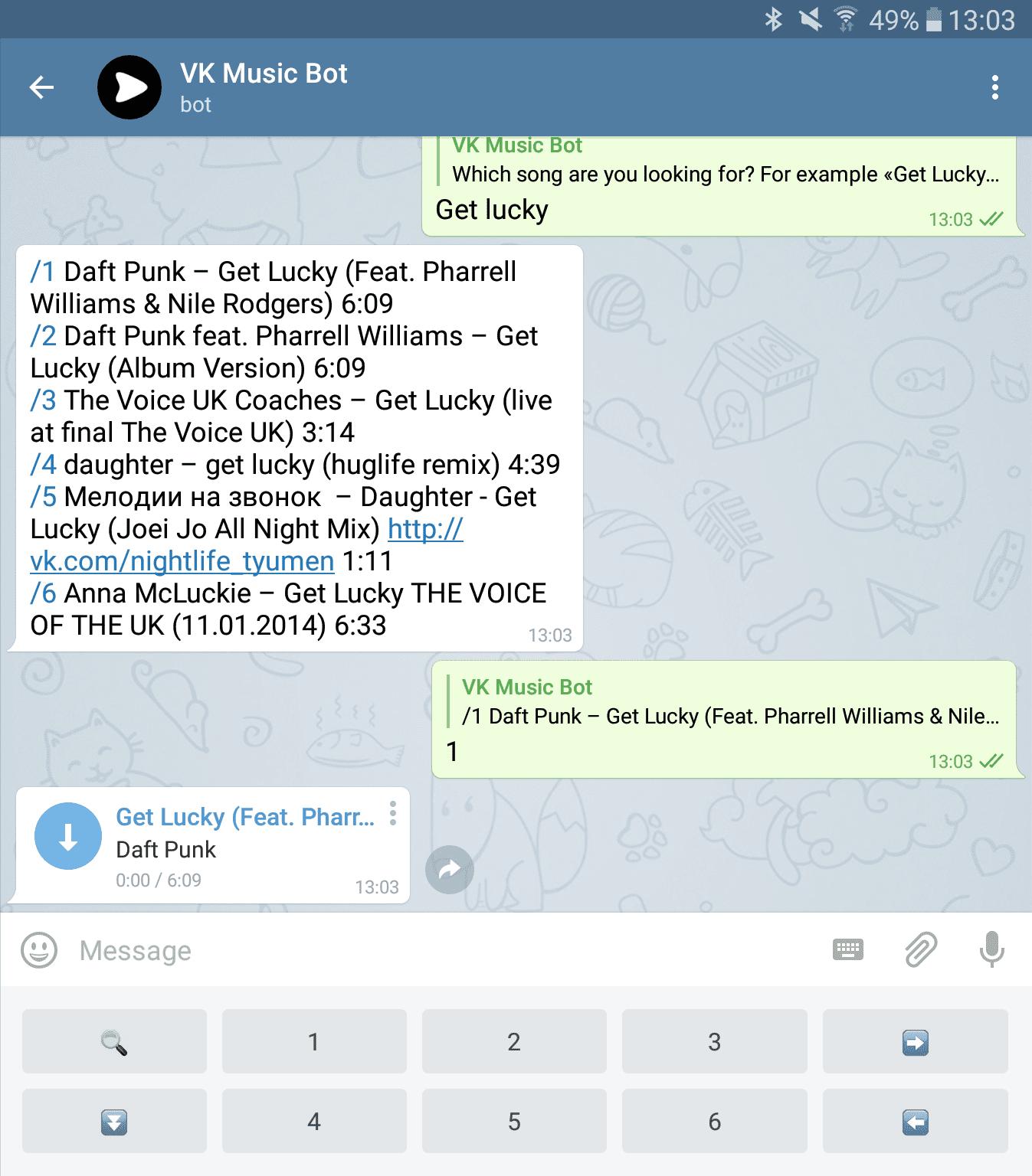 Скачать музыку ВК при помощи Telegram бота